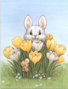 Bunny in Yellow Tulips Easter Art, Easter Crafts, Easter Pictures, Cute Pictures, Lapin Art, Easter Paintings, Art Mignon, Illustration Noel, Rabbit Art