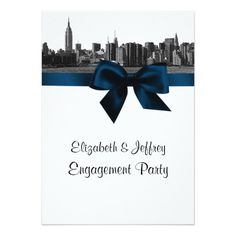 NYC Wide Skyline Etched BW Navy Engagement Party Card