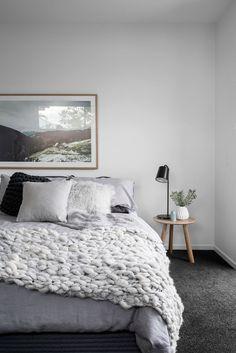 kalka interior styling. Cosy Scandinavian inspired bedroom styling. Jardan throw rug and cushions. kalka custom artwork