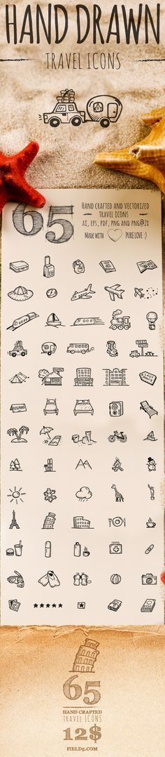 65 Hand Drawn Travel Icons on Behance