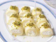 Halawet El-Jibn (حلاوة الجبن), Dessert Rolls of Sweet Syrian Cheese - Traditional Middle-Eastern Recipes Lebanese Desserts, Lebanese Cuisine, Lebanese Recipes, Turkish Recipes, Arabic Recipes, Arabic Dessert, Arabic Sweets, Armenian Recipes, Cooking
