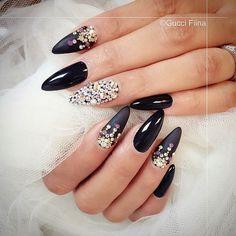 Black Bling Stiletto Nails