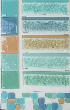 Glass beach glass tiles  - love this color pallet!!!! Was just talking about beach glass tile with Matt in our future bathroom
