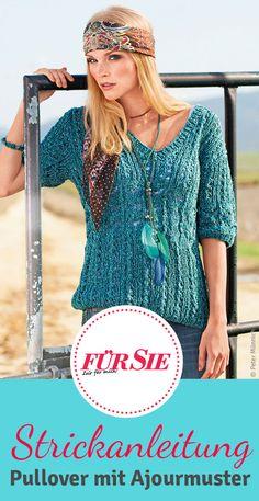 Kostenlose Strickanleitung: Dieser leichte Pullover im Hippie-Look mit Ajourmuster ist leicht und schnell gestrickt. Und passt zu vielen Looks.