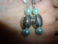 New Brighton Lanai Silver Charm/ Blue Bead Dangle Custom Lever Back Earrings #Brighton #DropDangle