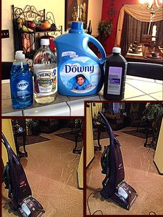 DIY Carpet cleaner for a machine. 1 gallon hot water 1/2 cup peroxide 4 Tbsp white vinegar 4 Tbsp Dawn dish soap, 1/2 cap fabric softener (I used Downey) Stir slowly then add to machine as directed by manufacture. (I used a Bissell ProHeat Machine) Works amazing! I recommend this natural Carpet Cleaner #Spotless #NaturalCleaning #DIYCarpetCleaner by corina