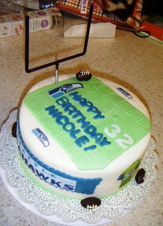 Seahawks Birthday Cake www.facebook.com/IceQueenCakes