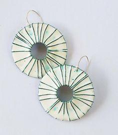 Large Enameled Earrings. Made to Order. Enamel on copper. Large statement earrings. Beach Jewelry. Bohemian Enamel Jewelry