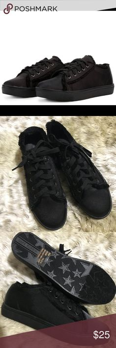 Cape Robin women's Silk tennis shoes size 8 Brand- Cape Robin  Brand new in box women's black fashion sneakers size 8-  Super cute with stars on the bottom of the shoes-  Beautiful black silk fabric with raw edges and trim-  Lace up closure-  Cushioned insole- Durable rubber midsole-  Price firm- Cape Robin Shoes Sneakers