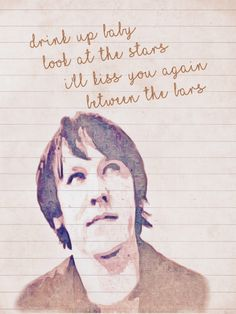 Elliott Smith lyric from Between The Bars with background image. A6 card. Blank inside.