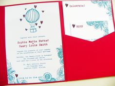 Pocketfold Wedding Invitations Love Is In by LittleSparkCreations