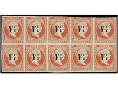 CUBA. Ed.10 (10). Y 1/4 s. 2 reales rojo. Bloque de 10 sellos (posiciones 44-48 y 61-65), margen superior corto en dos sellos. Pieza excepcional, tercer mayor bloque conocido de éste raro sello. Cert. COMEX.