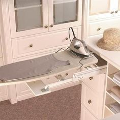 Closet Island with Pull Out Ironing Board, Transitional, Closet