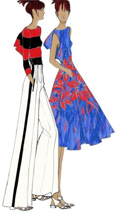 Designer Sketch by Tracy Reese - PANTONE Dazzling Blue and PANTONE Cayenne Spring 2014 Pantone Fashion Color Report #FCRS14 #pantone  @Tracy Reese