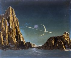 "Chesley Bonestell, ""Saturn from Titan"" (1944) (Adler Collection, CB-13, courtesy Bonestell LLC)"