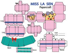Picture of How to make Miss La Sen in skirt papercraft.