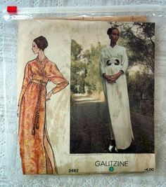 Vintage VOGUE 2482 Designer Galitzine Maxi Dress Asian Style 12 NEW NO ENVELOPE