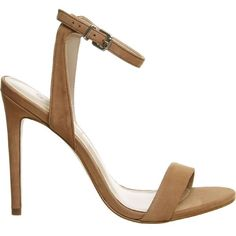 OFFICE Alana nubuck leather sandals ($69) ❤ liked on Polyvore featuring shoes, sandals, nude nubuck, ankle strap high heel sandals, nude high heel shoes, ankle strap sandals, ankle strap stilettos and nude sandals