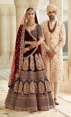 Sabyasachi Inspired Dark Burgandy Wedding Lehenga Set