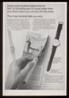 1968 IWC International Watch Company vintage print ad. #iwc #watch #watches #vintage #ads #stawc
