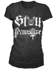 Stay Pawsitive - Women's T-Shirt   Black Craft