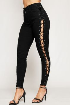 Yvonne Lace Up Side Eyelet High Waist Jeans