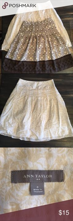 """Ann Taylor/Loft Skirt Bundle Size 00P & 0 This is for (2) skirts. The first skirt is by Ann Taylor and is size 0 (13"""" waist/21"""" length). There is a rip/tear on the back side bottom of skirt, but is barely noticeable with the white lining blending in with the skirt. Please see pictures for reference. The second skirt is by Ann Taylor Loft and is a size 00P (12.5"""" waist/21"""" length). There is a small lipstick smudge on the inside lining, but does not affect outside appearance whatsoever. Both…"""