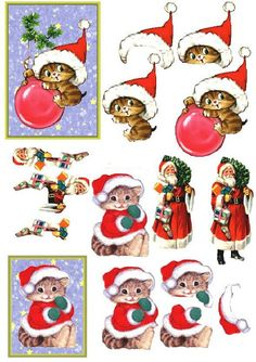 Pepper the cat Christmas Christmas Sheets, 3d Christmas, 3d Cards, Xmas Cards, Image 3d, Decoupage Printables, Christmas Gift Card Holders, Christmas Decoupage, Beautiful Christmas Cards