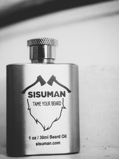 Black & white picture of the classic Sisuman beard oil Diy Beard Oil, Natural Beard Oil, Stainless Steel Containers, Beard Balm, White Picture, Flask, The Balm, Wax, Vintage Fashion