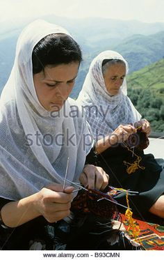 Dagestan knitters during a craft festival in the settlement of Kubachi - Stock Image