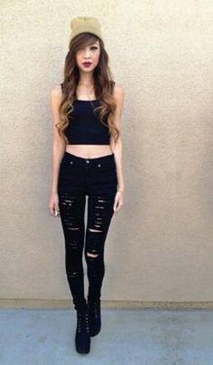 Jeans: black high waisted high waisted pants distressed slashed shredded skinny instagram