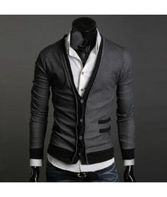 Contrast Mens Cardigan Slim fit contrast sweater with contrast pockets, hem and interior. It is definately a great addition to any outfit rather dresser or casual. Slim fit and available in black, dark grey and light grey.
