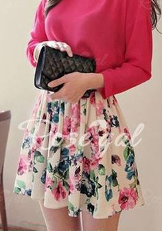 Fashionable Floral Print Chiffon Women's Skirt