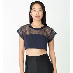 Scrimmage Crop Tee Navy Scrimmage Crop tee One Size. Fits S/M, worn a few times good condition American Apparel Tops Crop Tops