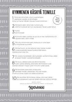 Lukijoiden toiveesta: 10 käskyä teinille | Meillä kotona