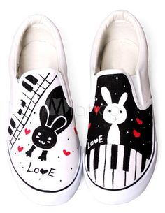 Lovely Rabbit White Canvas TPR Sole Painted Shoes For Women - Milanoo.com