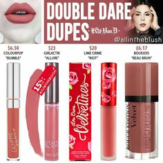 Kat Von D Double Dare Everlasting Liquid Lipstick Dupes - All In The Blush Lipstick Dupes, Lipstick Colors, Lip Colors, Lipsticks, Metallic Lipstick, Lipstick Shades, Matte Lipstick, Kat Von D, Double Dare