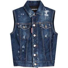 Dsquared2 Denim Vest ($395) ❤ liked on Polyvore featuring outerwear, vests, tops, jackets, blue, denim vest, dsquared2, pattern vest, button vest and blue vest