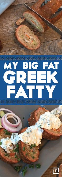 "BBQTricks' ""Greek"" fatty (aka BBQ meatloaf), inspired by the flavors of a classic Gyro, features roasted lamb, cucumber, onion, and a homemade tzatziki sauce that'll make you ""opa!"" with a mouthful of meat. Serve it alongside pita bread and veggies for a real big fat Greek fatty."