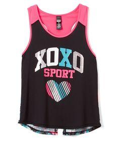 Black & Pink 'XOXO Sport' Performance Tank - Girls