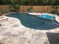 Mandeville silver travertine pool deck - Crystal Pools and Spas Backyard Pool Landscaping, Backyard Pool Designs, Small Backyard Pools, Small Pools, Swimming Pools Backyard, Swimming Pool Designs, Outdoor Pool, Backyard Ideas, Lap Pools