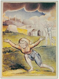 "Illustrations to John Bunyan's *The Pilgrim's Progress* By William Blake: 4 ""The neighbours also came out to see him run; and, as he ran, some mocked, others threatened, and some cried after him to return; and among those that did so, there were two that were resolved to fetch him back by force. The name of the one was Obstinate, and the name of the other Pliable"""