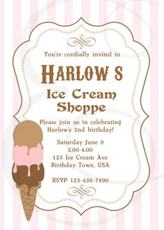 Neopolitan Ice Cream Shoppe Birthday Printable by EmmyJosParties, $12.00