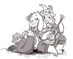 """mudkipful: """"i'd spam art… but they are not that good lookit ukulele goat dad tho…"""