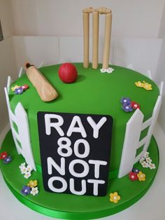 Cricket themed birthday cake.... Cricket Birthday Cake, Cricket Theme Cake, 50th Birthday Cakes For Men, Cute Birthday Cakes, Baby 1st Birthday, Birthday Ideas, 21st Cake, Sport Cakes, Fondant Cakes