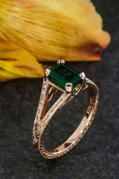 18 Gorgeous Colored Engagement Rings ❤ colored engagement rings rose gold center emerald shank band ❤ More on the blog: https://ohsoperfectproposal.com/colored-engagement-rings/