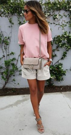 gorgeous summer outfit | blush top + bag + shorts + sandals