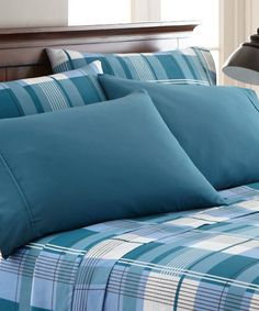 Look at this Blue Plaid Palazzo Home Luxurious Sheet Set on #zulily today!