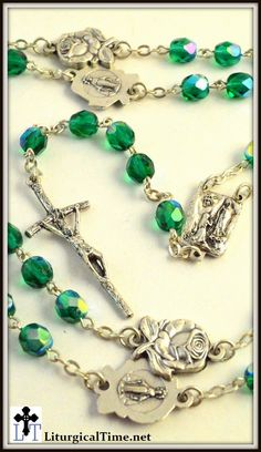 See all rosaries S50% off Summer Sale Item ~ Last of Stock Rosary w/ Catholic style crucifix. Material: Green Glass Beads. Beads: 5 mm Crucifix Length: 1.5 Length: 18 inches Rosary Features 5mm Green
