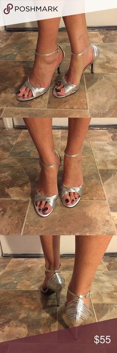 Silver Sandals Beautiful silver sandals, only wore twice, in excellent condition. No scuffs. Lauren Ralph Lauren Shoes Sandals